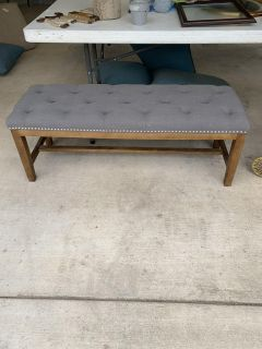 Grey and wood bench