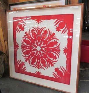 Large, Framed Red & White Quilt