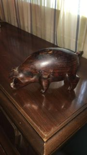 Choctaw Indian carved wooden Pig