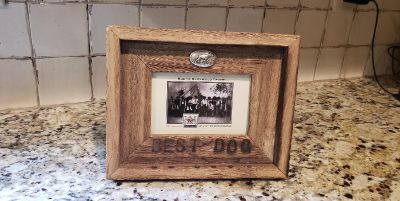 """Rustic Barnwood 4"""" x 6"""" Frame for a Dog Picture. Engraved """"Best Dog"""". Has Pewter Dog Emblem. Frame is 10"""" W x 7.75"""" T."""