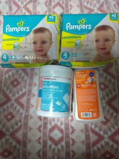 Pampers swaddlers and wipes