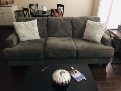 Gray micro suede couch