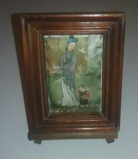 Asian Picture in Frame with Easel