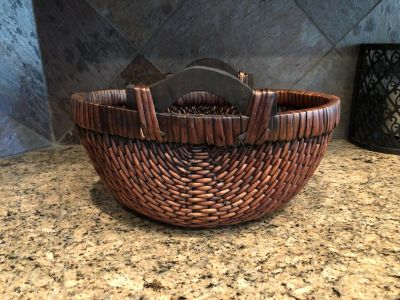 Woven Basket with Wood Handles