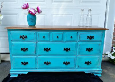 Turquoise wood dresser with black accents, 58Lx 31Hx18D""