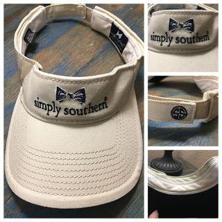 Simply Southern visor, cream & navy blue, freshly washed but has small makeup stains underneath. Velcro adjustable, $4!