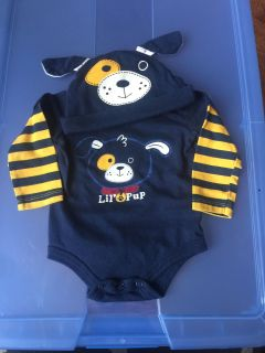 Long sleeve onesie with matching hat