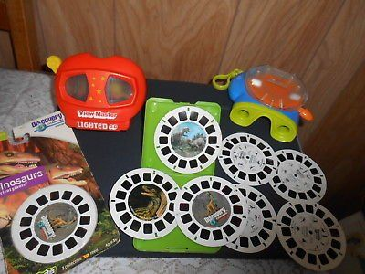 2 Vintage View Masters w/ 10 Reels! Discovery Channel 'DINOSAURS' Note: One is a Lighted 3-D Vie...