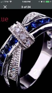 Navy blue and diamond Ring