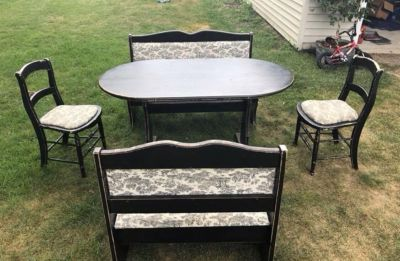 Dining Table - 2 chairs, 2 benches (with storage)