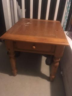 Large solid wood side table end table with drawer