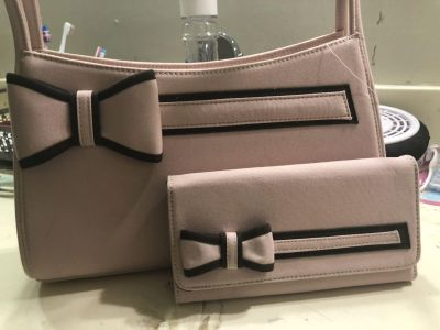 PINK / BROWN PURSE AND WALLET