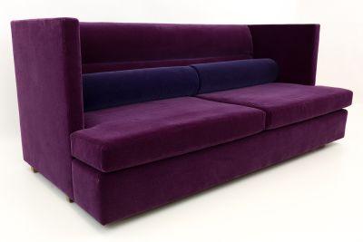 Baughman Shelter Sofa in Purple Mohair Fabric