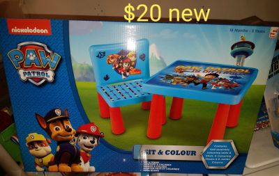 Paw patrol table with 1 chair. NEW