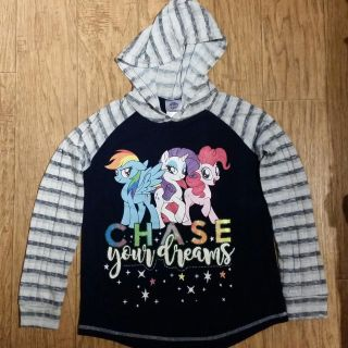 My little pony sweatshirt with hoodie Size L 10-12 girls navy blue very sparkle!