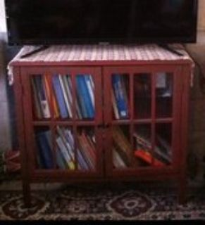 Antique Red Bookcase / TV Stand