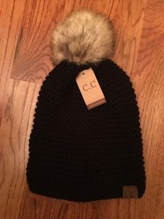 C.C ADJUSTABLE BEANIE FAUX FUR BLACK - - ONLY ONE THIS COLOR THIS PRICE - THEY ARE NO LONGER ON SALE FOR THIS PRICE