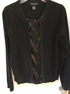 EUC very dressy sweater all black sequins down center