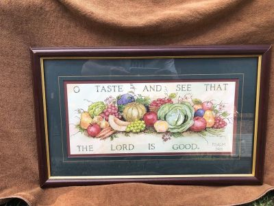 """Home Interiors """"O Taste And See That The Lord Is Good"""" Psalm 34;8 Framed Picture"""