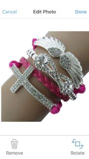 New hot pink cross angel wings all in one clasp charm bracelet