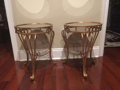 New Set of Two Gold Leaf Scroll Mirror Top End Tables