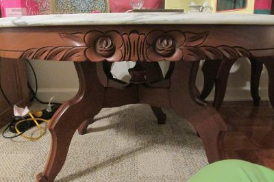 Crump Carving Beveled Italian Marble Top Cherry Wood Rose Tables