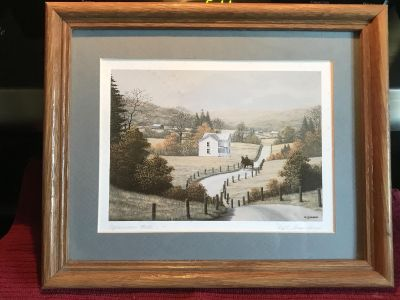 9 1/4 x 11 AFTERNOON RIDE lithograph framed matted picture