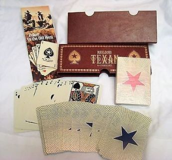 Vintage marlboro texan box set no 45 playing cards poker 2 pack decks game room
