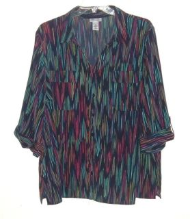 Womens Plus 3X 26w 28w Maggie Barnes Catherines 3/4 Button Tab Sleeve Blue MultiColor Blouse 3X ...