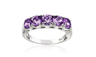 CLEARANCE ****BRAND NEW***1.25 CTTW Amethyst Half-Eternity Ring in Sterling Silver****SZ 8
