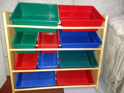 Organizing bins and wooden holder
