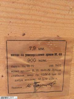 For Sale: 8 MM Mauser Yugo