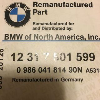 Sell E39 E46 E53 Z3 OEM BMW ALTERNATOR REBUILT BOSCH Part Number 12317501599 motorcycle in Fort Worth, Texas, United States, for US $299.99