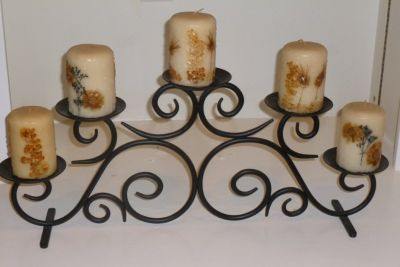 Black Scrolled Metal 5 Tier Candle Holder, includes candles! New, great gift idea too :-)