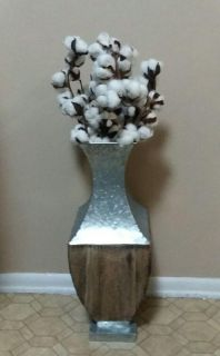 FLOOR/VASE WITH COTTON STEMS......EXCELLENT CONDITION