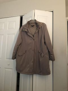 Ladies sz 3x beige jacket with hood and pockets