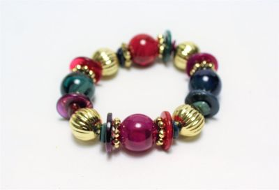Multi Color Bead Stretch Bracelet Green Red Purple Gold Tone