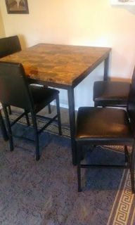 $350, marble immitation, Dinnette w 4 leather chairs high T-Mart $350