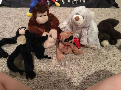 Free stuffed animals with blue canvas bin