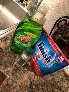 Dishwasher soap, 11 tabs(3 were missing) , new sample cascade, dish soap used twice.