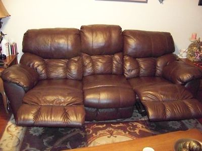 """SOFA, BROWN, TOP GRAIN LEATHER, 90"""" WITH ..."""