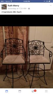 2 raw iron barstools