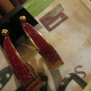 STUNNUNG RED EARRINGSWITH GOLD COLOR ACCENTS