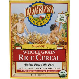 Earths Best Whole Grain Rice Infant Cereal. 12-8 oz Boxes