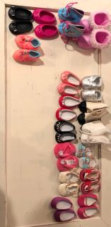 Big lot of American girl and other 18 inch doll shoes