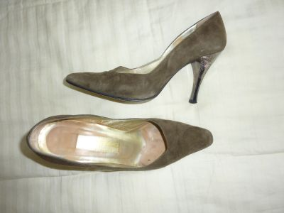 Solo Olive Green Suede with Metal High Heel