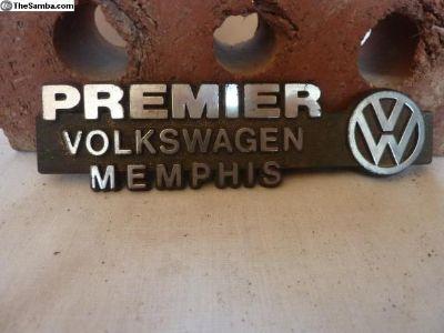 Dealer Tag Premier VW Memphis