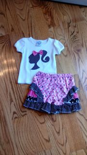 Blanks Boutique Barbie outfit. Knit top & woven ruffle shorts. New no tags. Size 18M