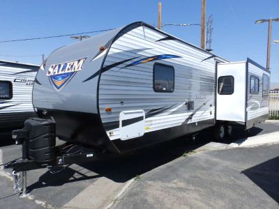2018 Forest River SALEM 27 RKSS, 1 SLIDE, REAR KITCHEN, FRONT WALK AROUND QUEEN BED, SIDE LOUNGE RECLINERS, UPGRADED POWER STABILIZER JACKS