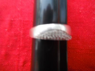 Ladies Silver ring with a lot of saphires, size 10 1/2